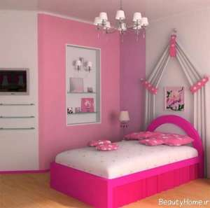 دکوراسیون سفید و صورتی اتاق دخترانه