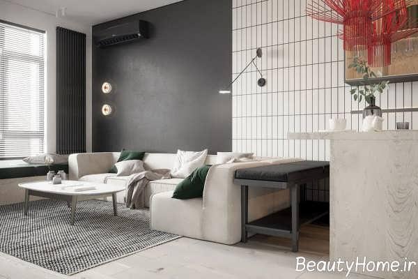 اتاق پذیرایی با دیزاین تیره و جذاب