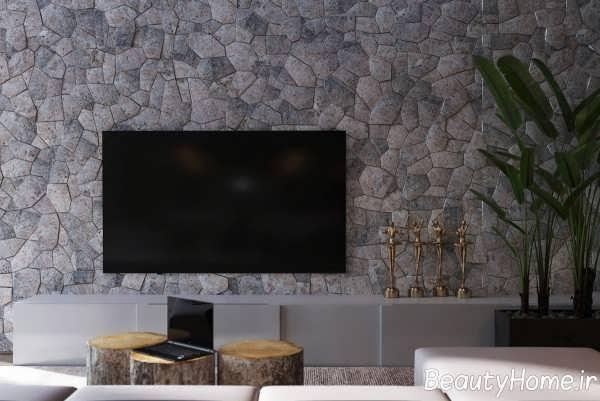 طرح سنگ مرمر در پشت دیوار تلویزیون