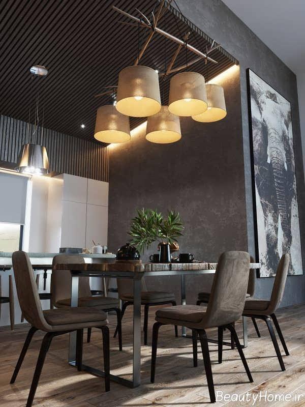 طراحی اتاق نشیمن با سنگ تیره