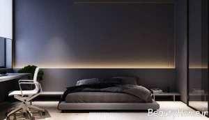 اتاق خواب با نورهای تاکیدی