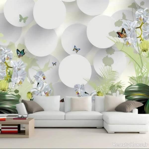 کاغذ دیواری سفید و طرح دار