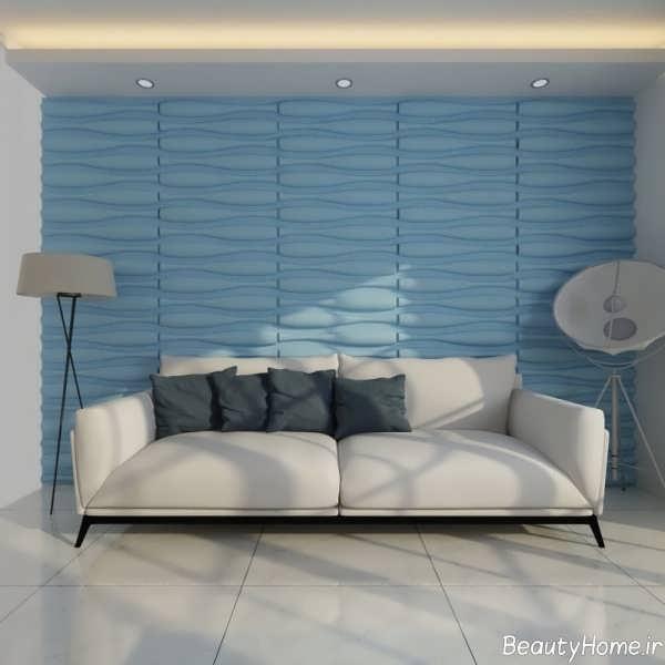 کاغذ دیواری آبی و طرح دار