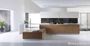 کابینت سفید و قهوه ای آشپزخانه