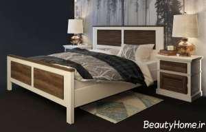 مدل تخت خواب سفید و قهوه ای