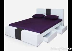 تخت خواب سفید و مشکی