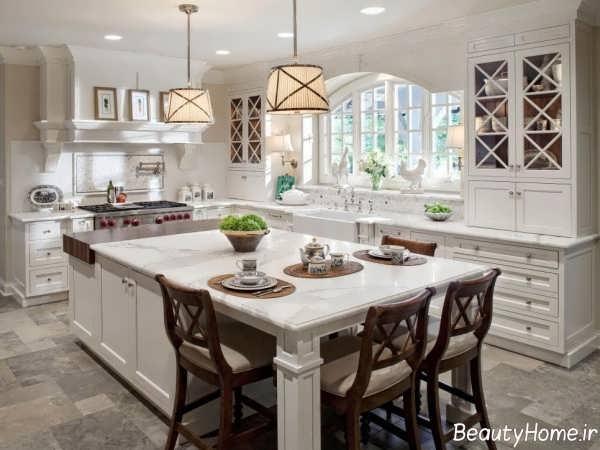 دکوراسیون آشپزخانه کلاسیک با رنگ سفید