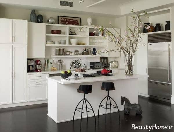 دکوراسیون زیبا و جذاب آشپزخانه سفید