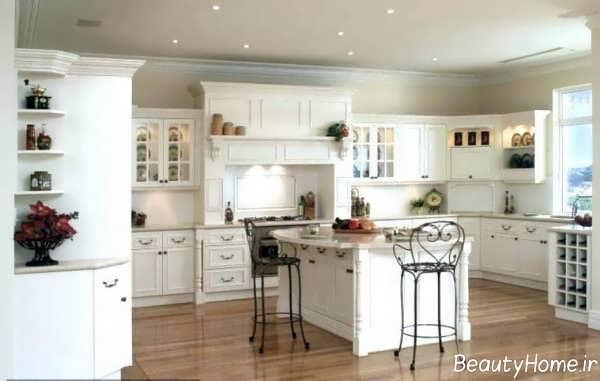 دکوراسیون کلاسیک آشپزخانه سفید