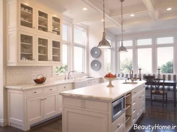 دکوراسیون آشپزخانه کلاسیک سفید
