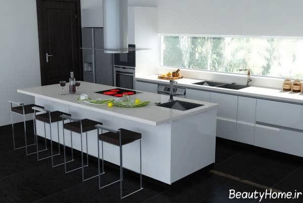 دکوراسیون آشپزخانه با وسایل سفید