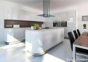 دیزاین دکوراسیون آشپزخانه با وسایل سفید