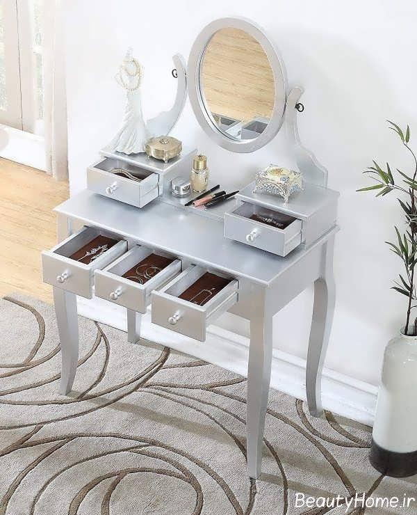 طرح نقره ای میز آرایش