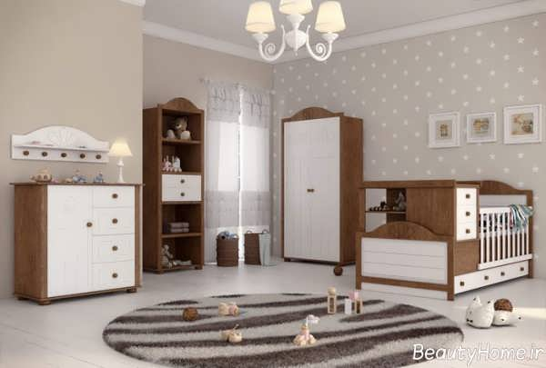 سرویس خواب سفید و قهوه ای