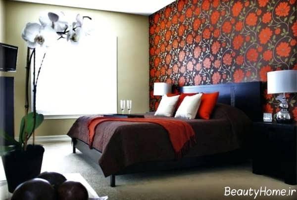 مدل کاغذ دیواری اتاق خواب طرح دار