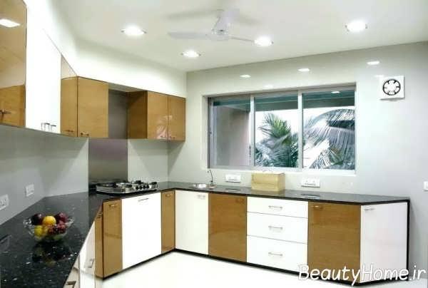 دکوراسیون آشپزخانه قهوه ای و سفید
