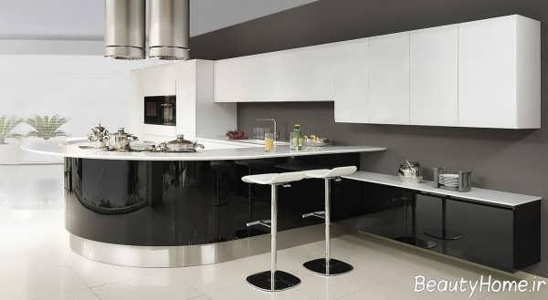 مدل کابینت مشکی و سفید برای آشپزخانه