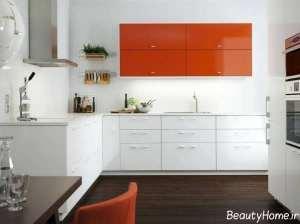 مدل کابینت نارنجی و سفید