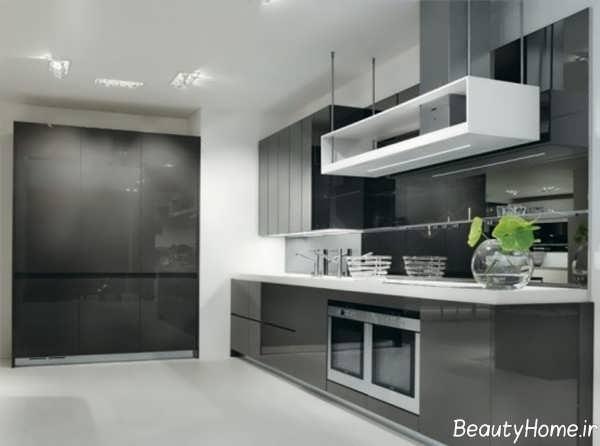 مدل کابینت آشپزخانه رنگ تیره
