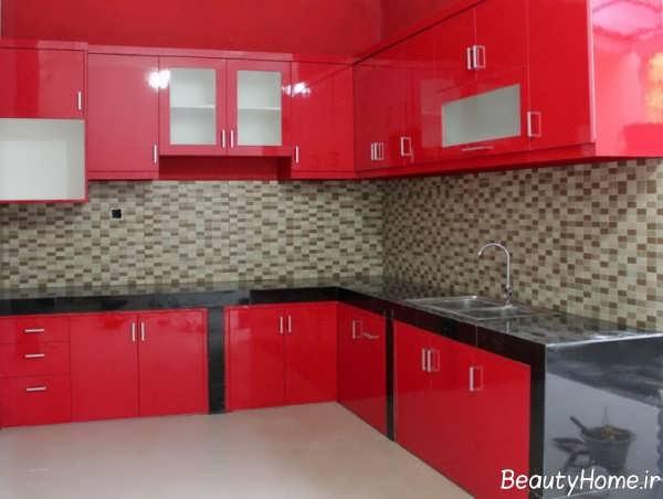 مدل کابینت قرمز آشپزخانه