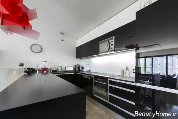 مدل کابینت رنگ تیره برای آشپزخانه