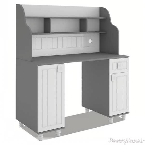 مدل میز تحریر سفید و خاکستری