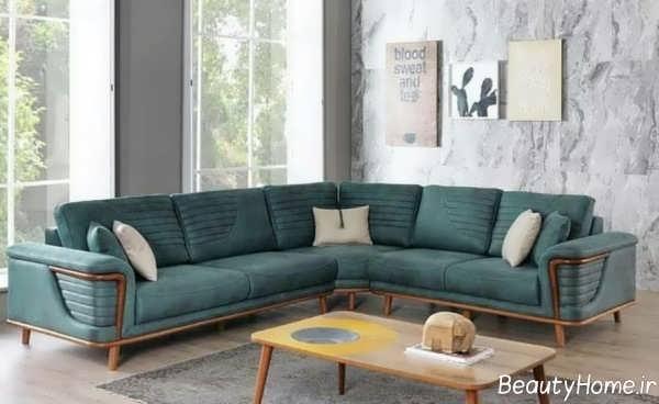 مبلمان کلاسیک خاکستری و سبز