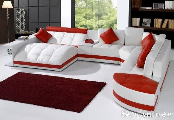 مدل مبل اداری قرمز و سفید