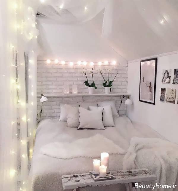 نورپردازی اتاق خواب سفید