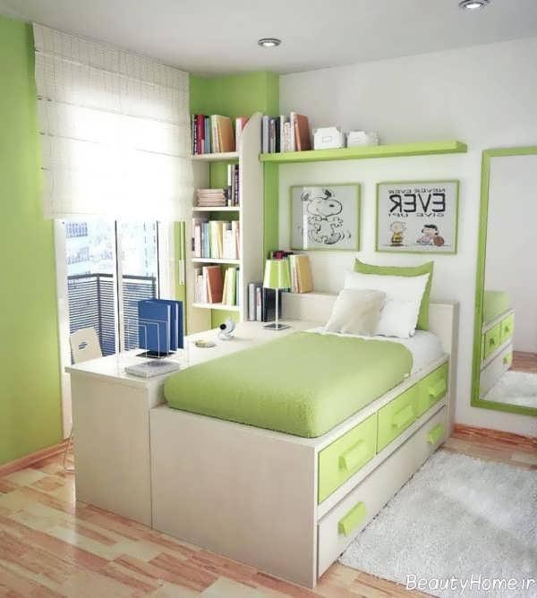 دکوراسیون سبز و سفید اتاق خواب کودک