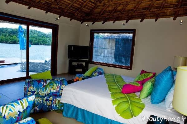 دکوراسیون داخلی گرمسیری در فضای اتاق خواب