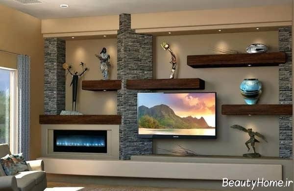 شلف دیواری زیبا و جدید مخصوص تلویزیون