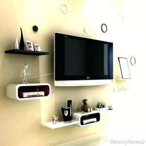 شلف دیواری سفید و مشکی مخصوص تلویزیون