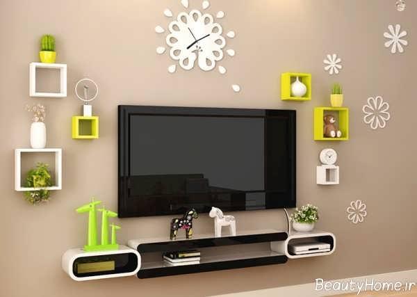 مدل شلف دیواری زرد و سفید مخصوص تلویزیون
