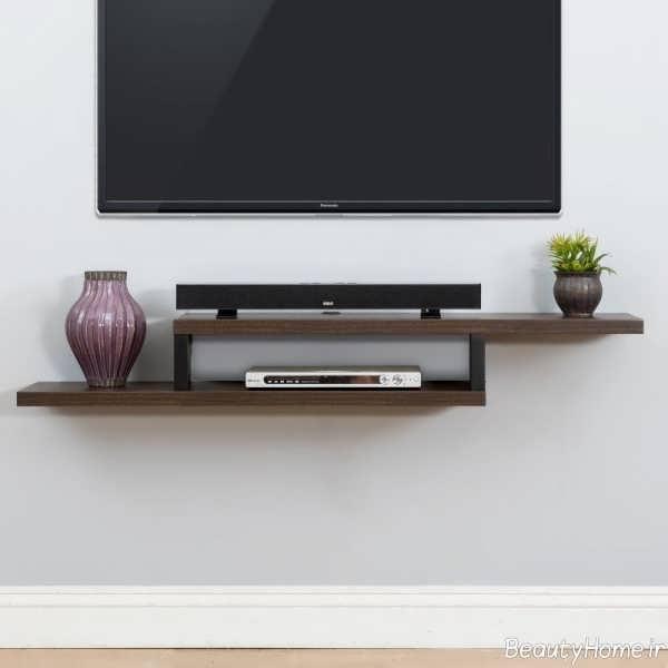 شلف دیواری ساده و کوچک مخصوص تلویزیون