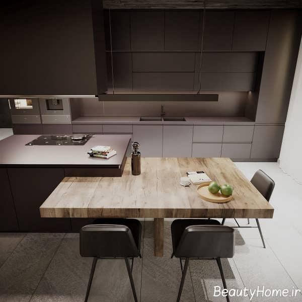 آشپزخانه با تم تیره