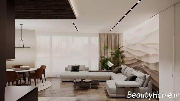 اتاق پذیرایی با رنگ خنثی
