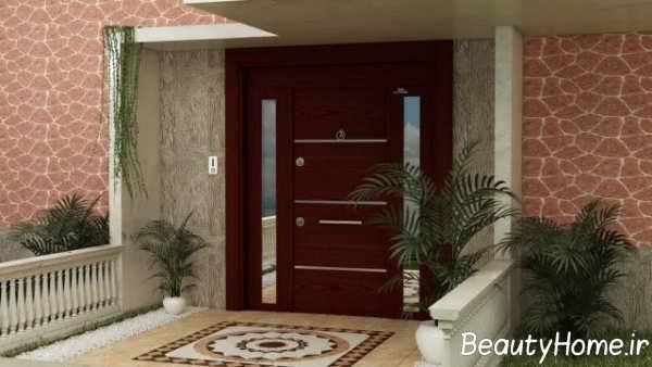 درب چوبی ویلای مدرن