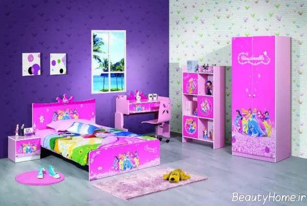 دکوراسیون آبی و صورتی اتاق خواب