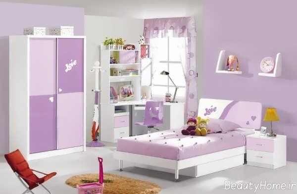 دکوراسیون بنفش و سفید اتاق کودک