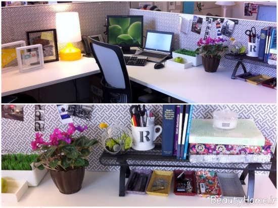 تزیین میز کار با گلدان