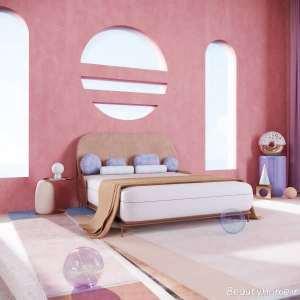 دکوراسیون اتاق خواب صورتی و سفید