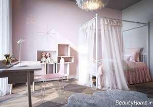 اتاق خواب صورتی و شیک