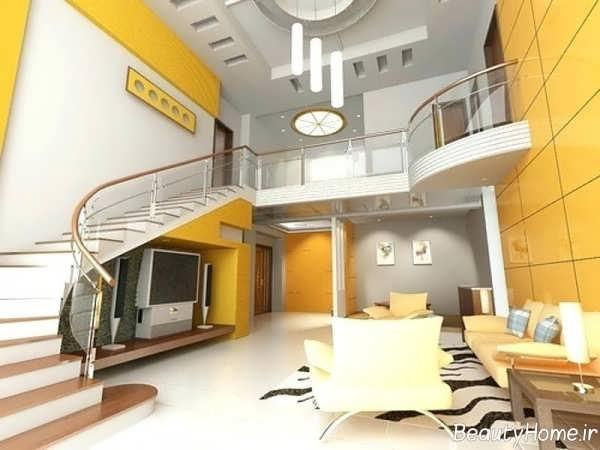 دکوراسیون خانه دوبلکس زرد و سفید