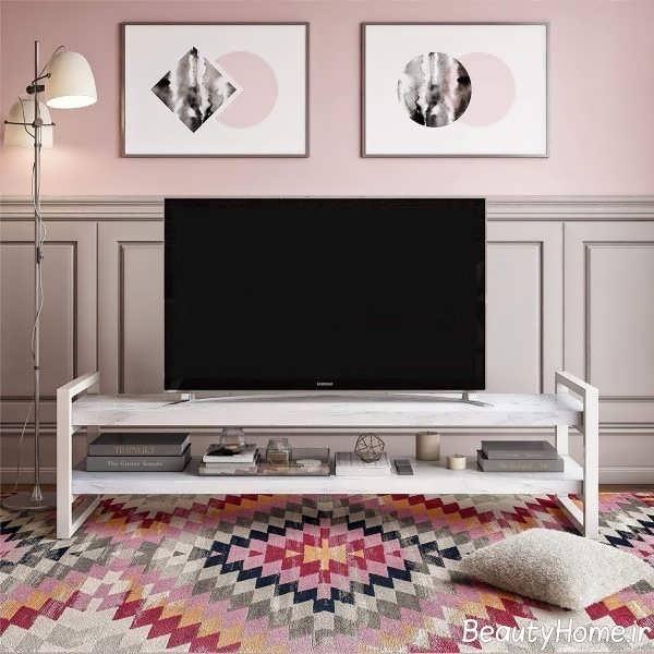 میز تلویزیون با تم سفید