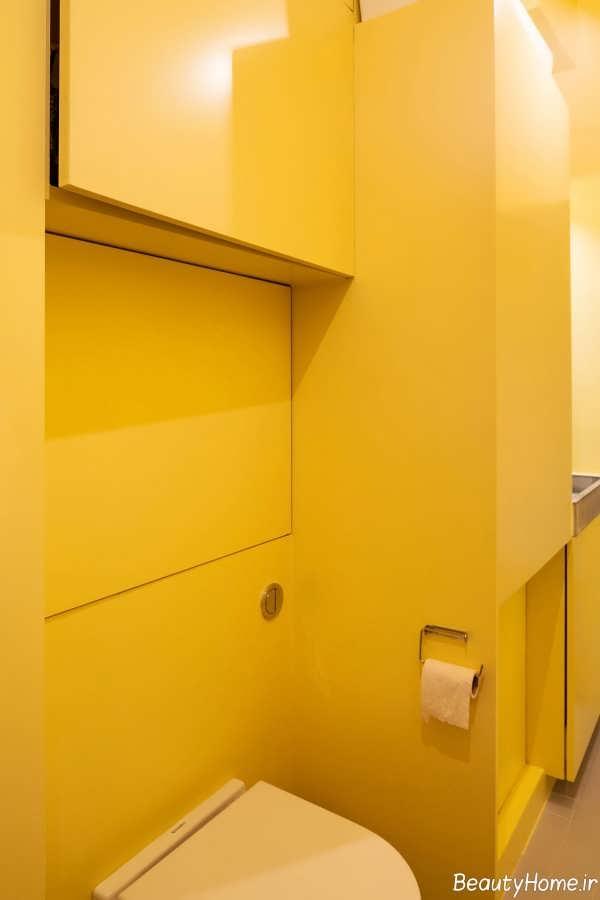 طراحی داخلی سرویس بهداشتی زرد