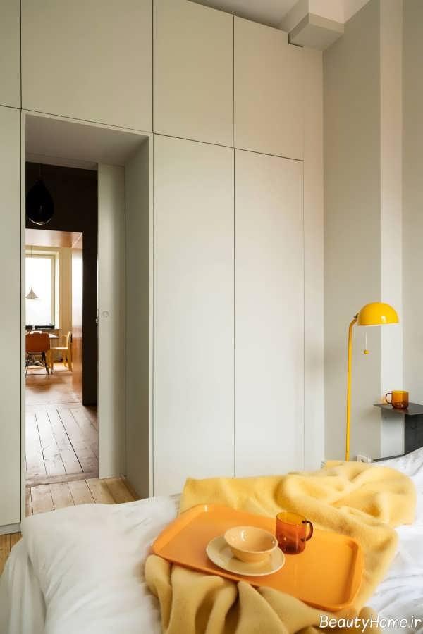 دکوراسیون اتاق خواب زرد و سفید