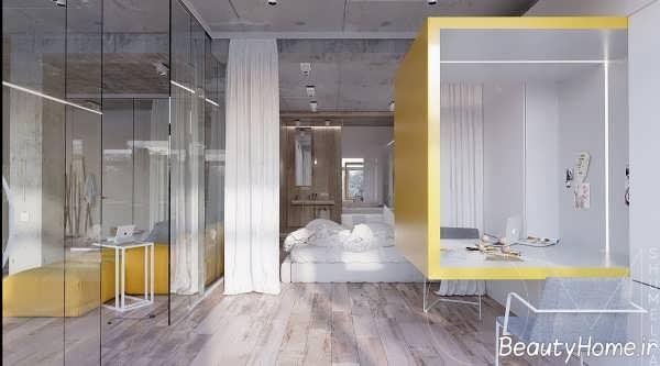 طراحی داخلی زرد و سفید