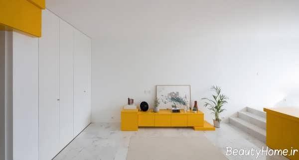 دکوراسیون سفید و زرد
