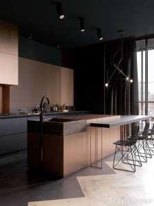 آشپزخانه مدرن و مسی